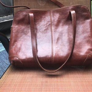 Classic vintage leather laptop carrier/briefcase